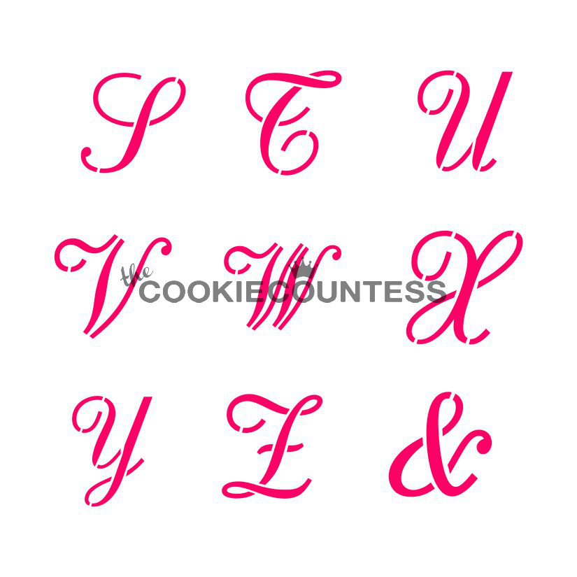 Alphabet script stencil set busy bakers Calligraphy stencil set